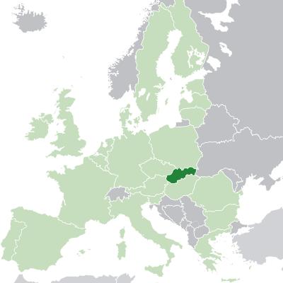 Lokalizácia Slovenska na mape Európy